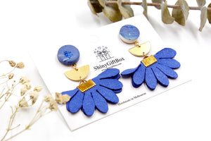 Blue & Gold Flower Dangle