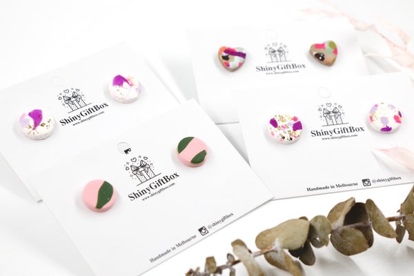 Pink Splash Statement Studs