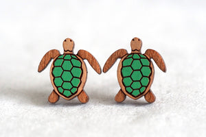 Sea Turtle Wooden Earrings