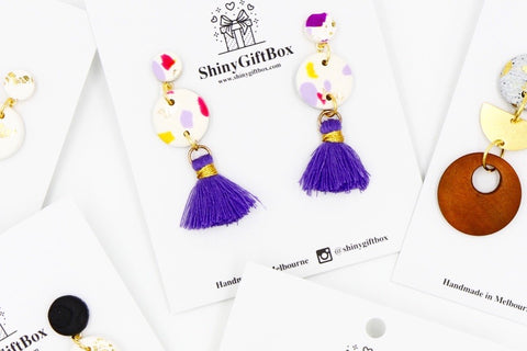 White & Pastel Purple Tassels Dangles