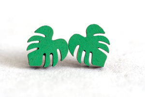 Monstera Wooden Stud Earrings