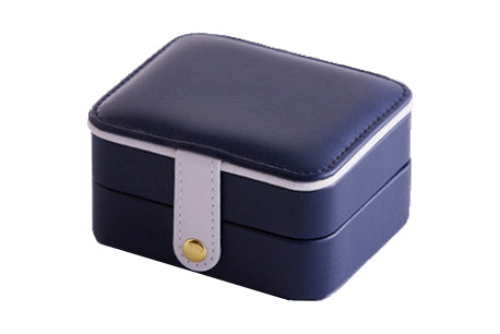 Navy Blue & White Rectangle Jewellery Travel Box