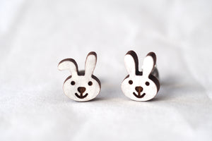White Rabbit Bunny Wooden Earrings