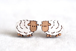 Sheep / Lamb Wooden Earrings