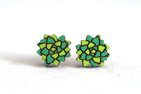 Succulent Wooden Stud Earrings