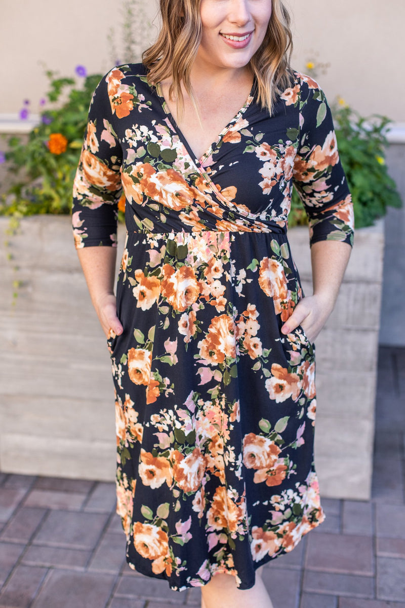 Taylor Faux Wrap Dress - Black and Yellow Floral