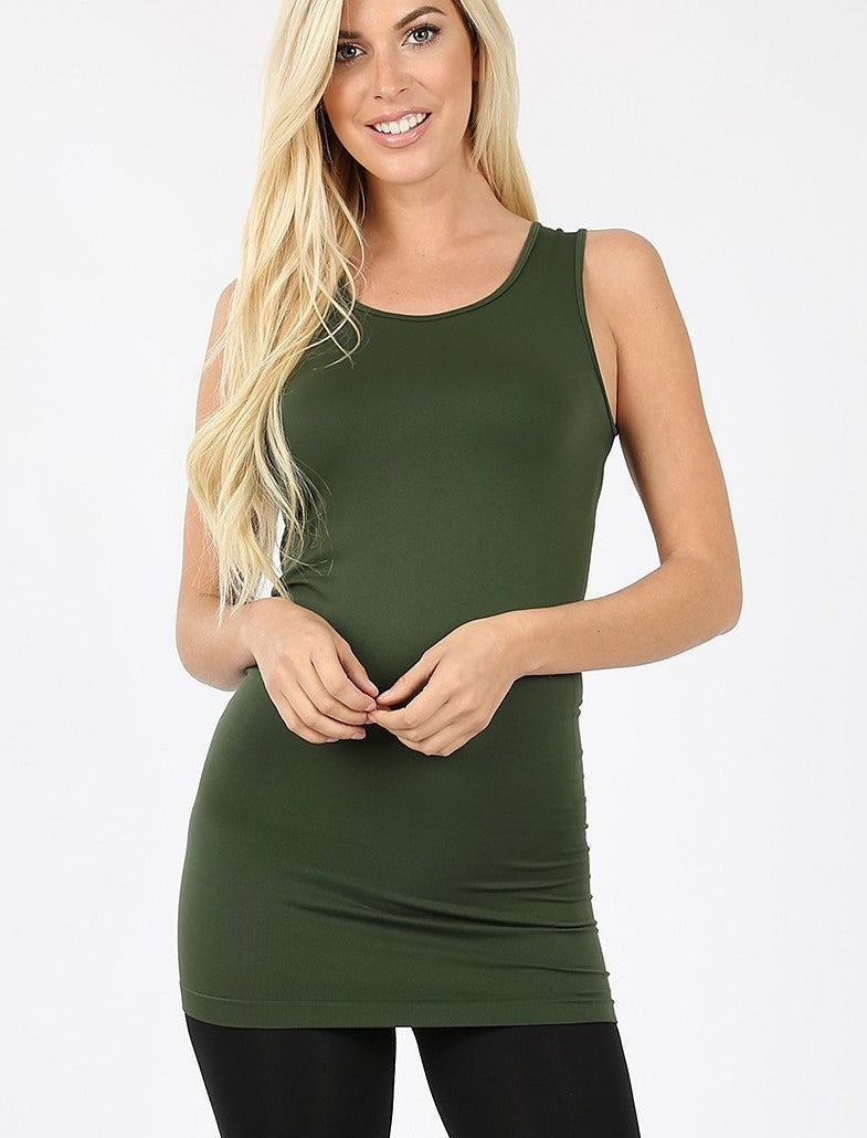 Basics Collection - Scoop Neck Extra Long Torso Tank