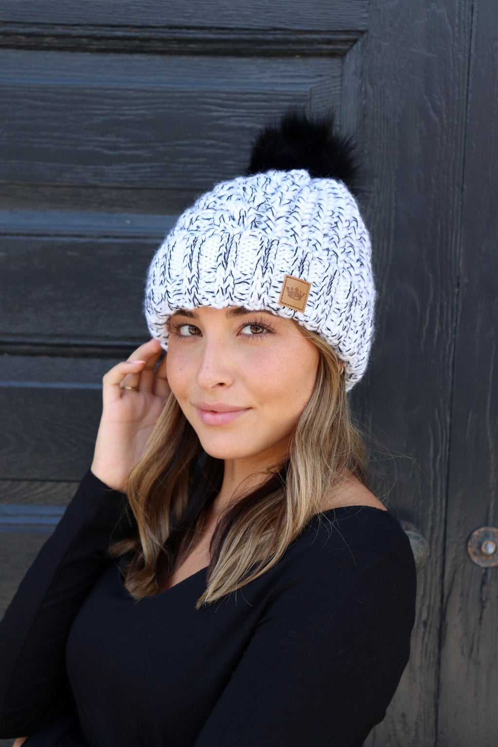 White & Black Marbled Fleece Lined Hat