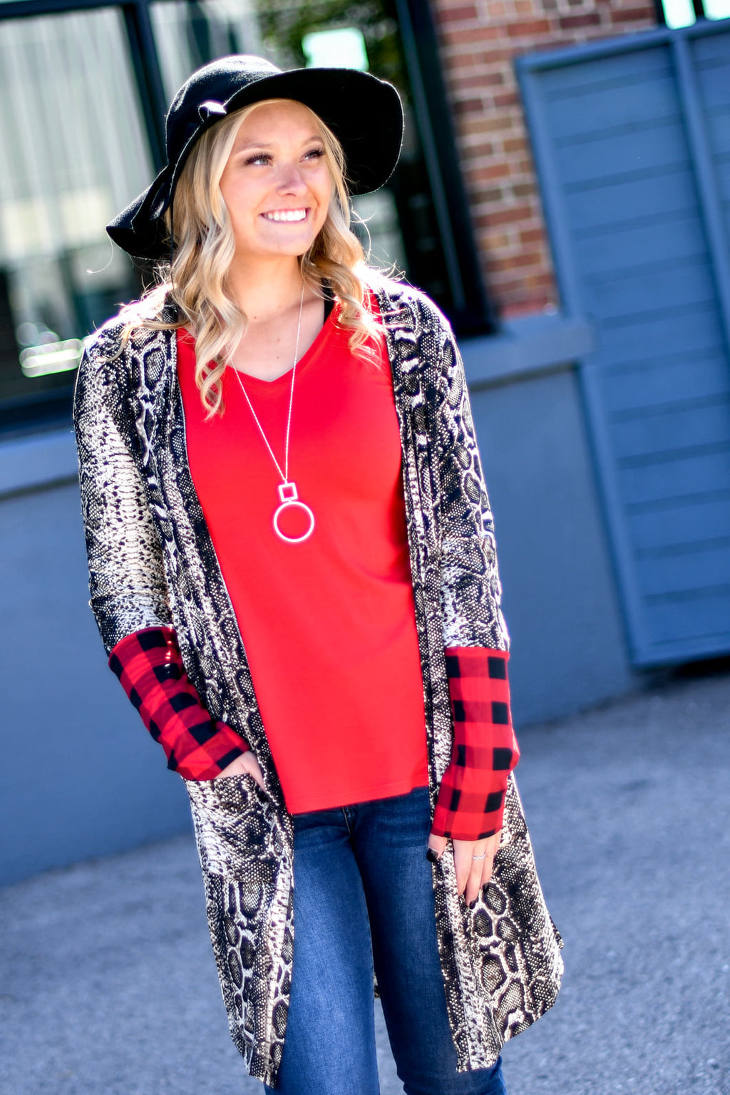 Snakeskin & Buffalo Plaid Trim Cardigan
