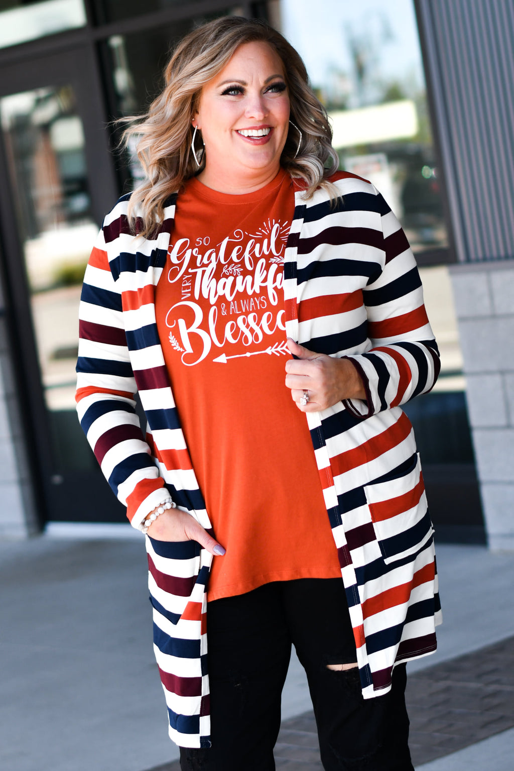 Fall Stripe French Terry Favorite Cardigan