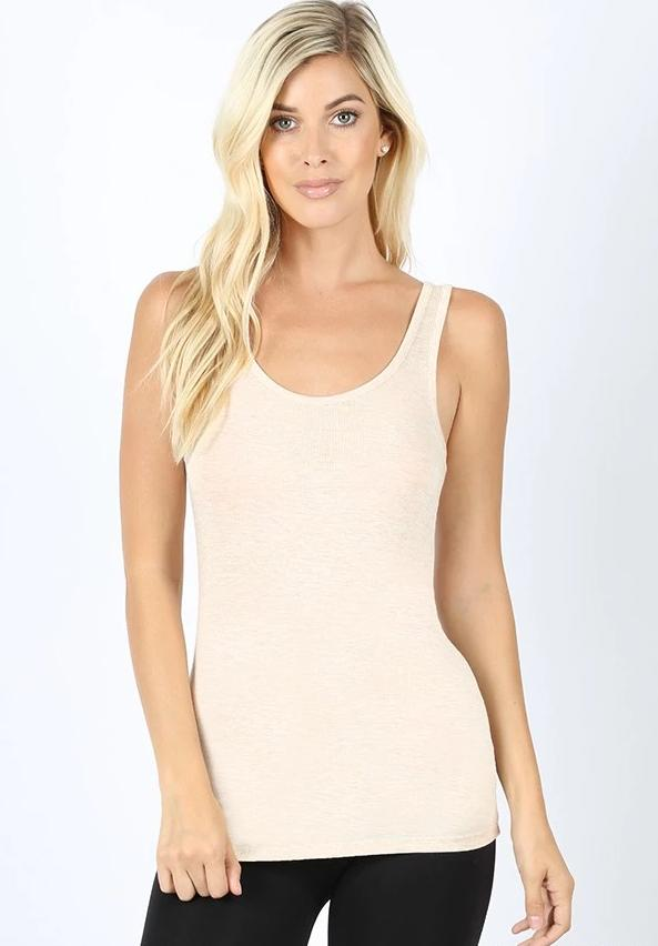Basics Collection - Scoop Neck Tank - Oatmeal