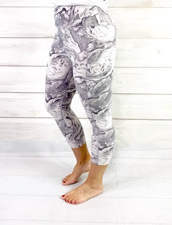 Athletic Pocket Capri Leggings - Grey Marble