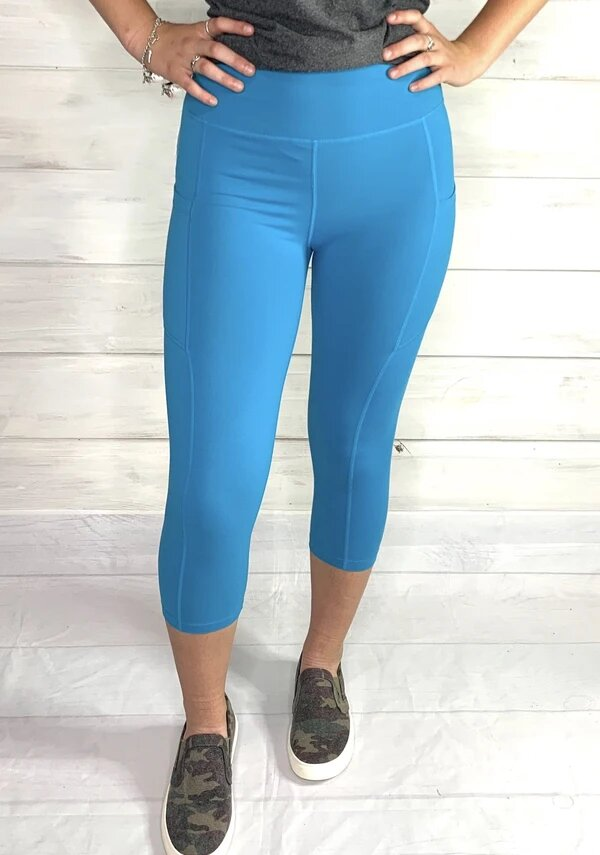 Athletic Pocket Capri Leggings - Teal