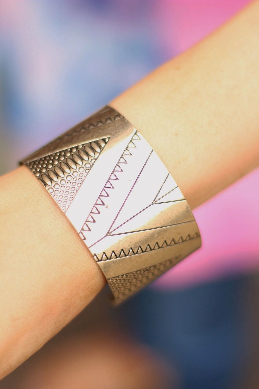 Bold Lines Cuff Bracelet In Gold
