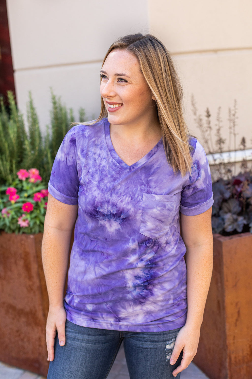 Classic Pocket Tee with V-Neck - Purple