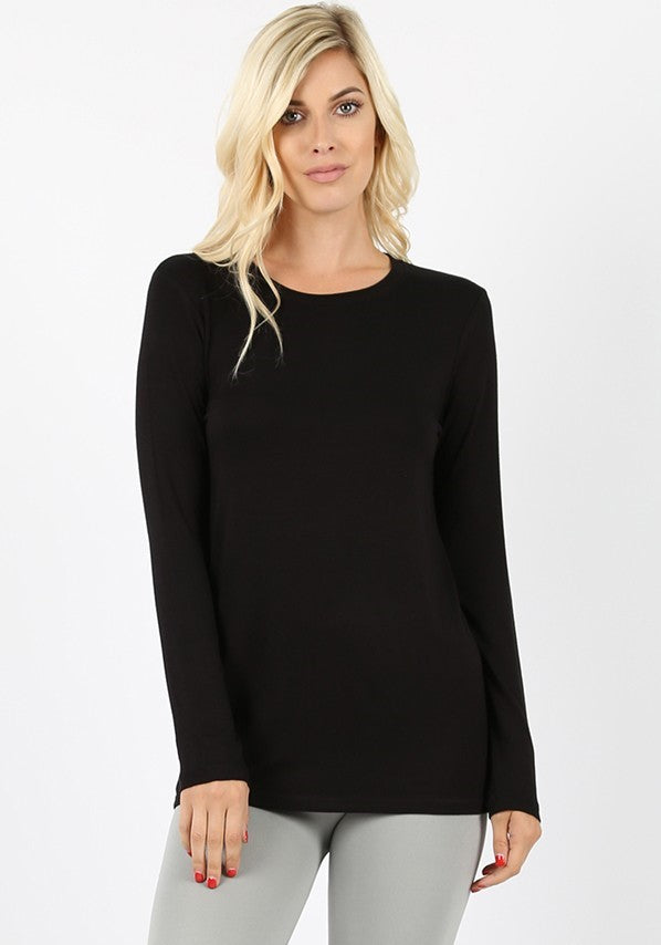 Basics Collection - Long Sleeve Crew Neck Tee in Black