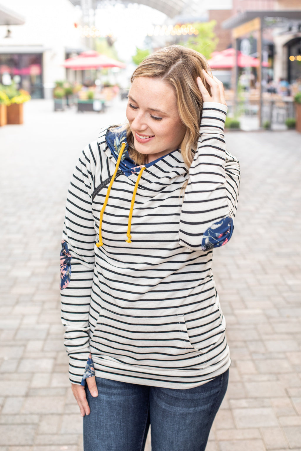 Oatmeal Stripes with Navy Floral Accents Double Hoodie