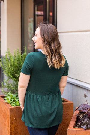 Classic Ruffle V-Neck Top - Evergreen