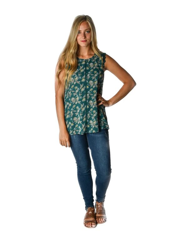 Teal Floral Sleeveless Blouse
