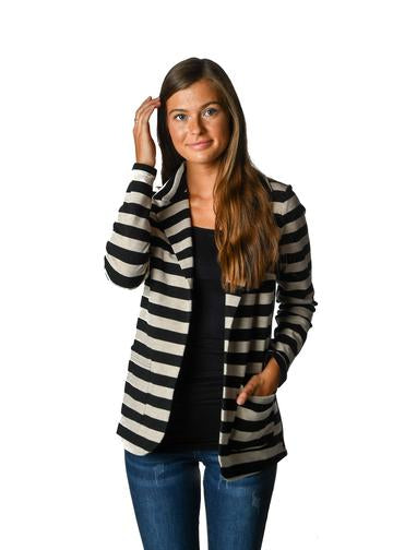 Black Stripe French Terry Blazer