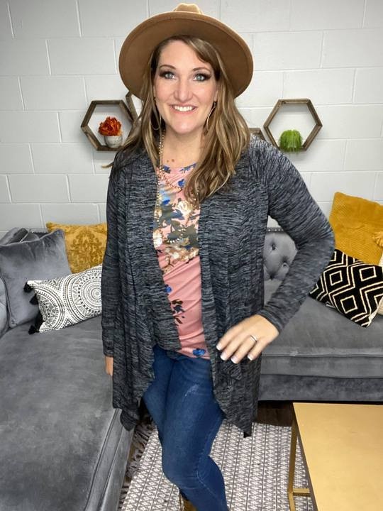 Gray & Black Cascading Front Cardigan