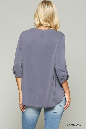 Roll Up Sleeve V-Neck Top - The Modern Gypsy Collection