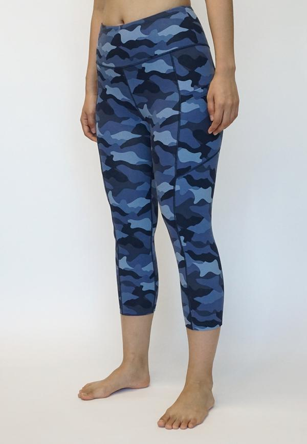 Athletic Pocket Capri Leggings - Navy Camo