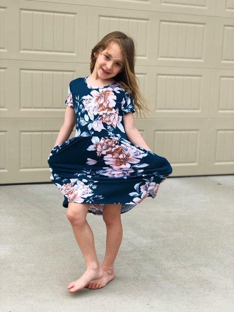 Girls Teal Floral Dress - The Modern Gypsy Collection
