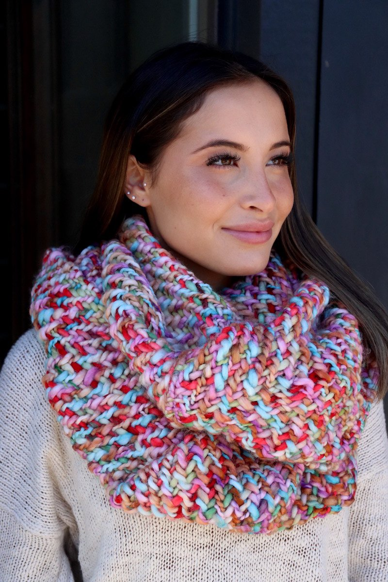 Loom Woven Infinity Scarf - Cotton Candy