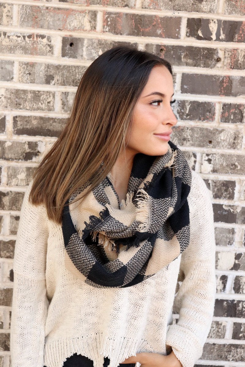 Black & Tan Buffalo Plaid Infinity Scarf