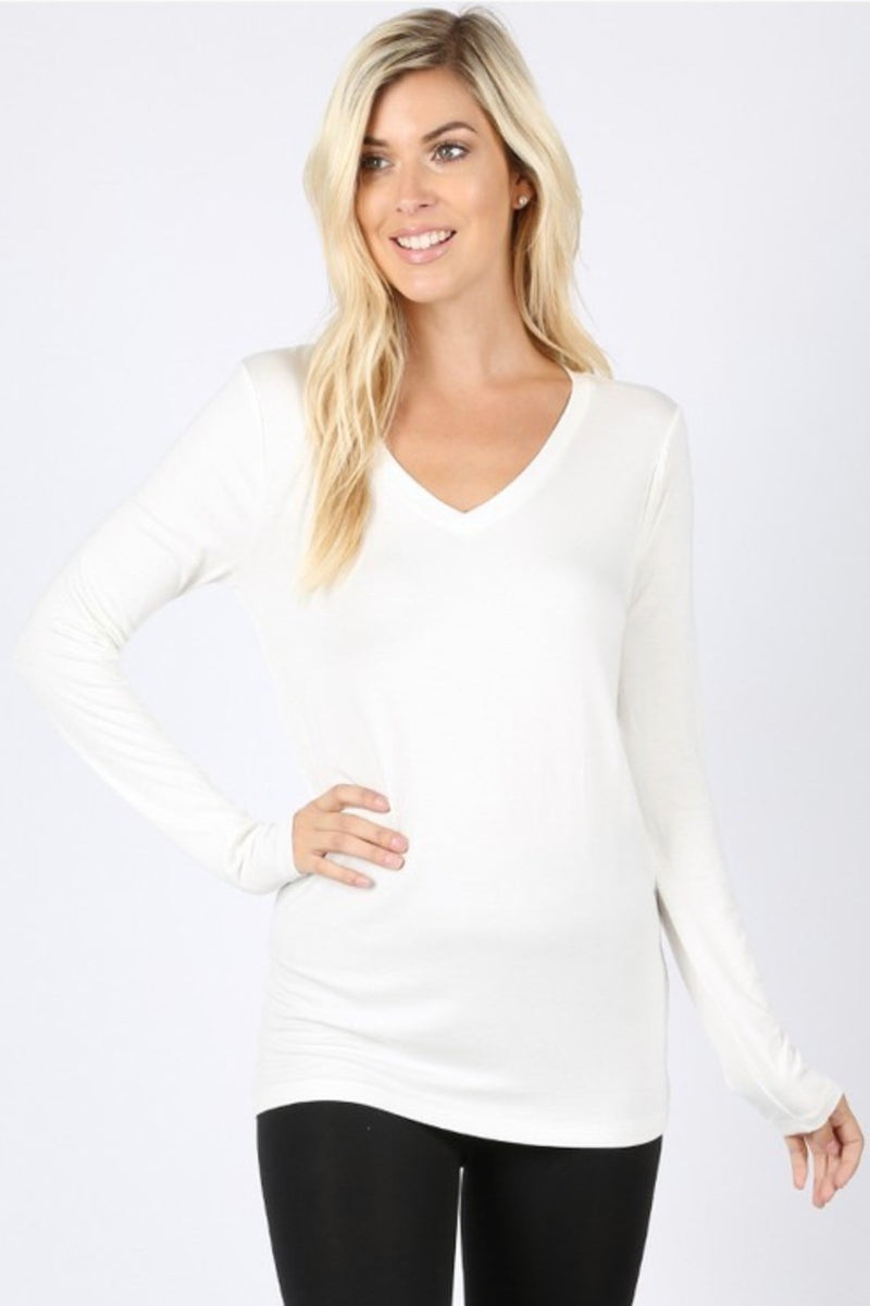 White Long Sleeve V-neck Top