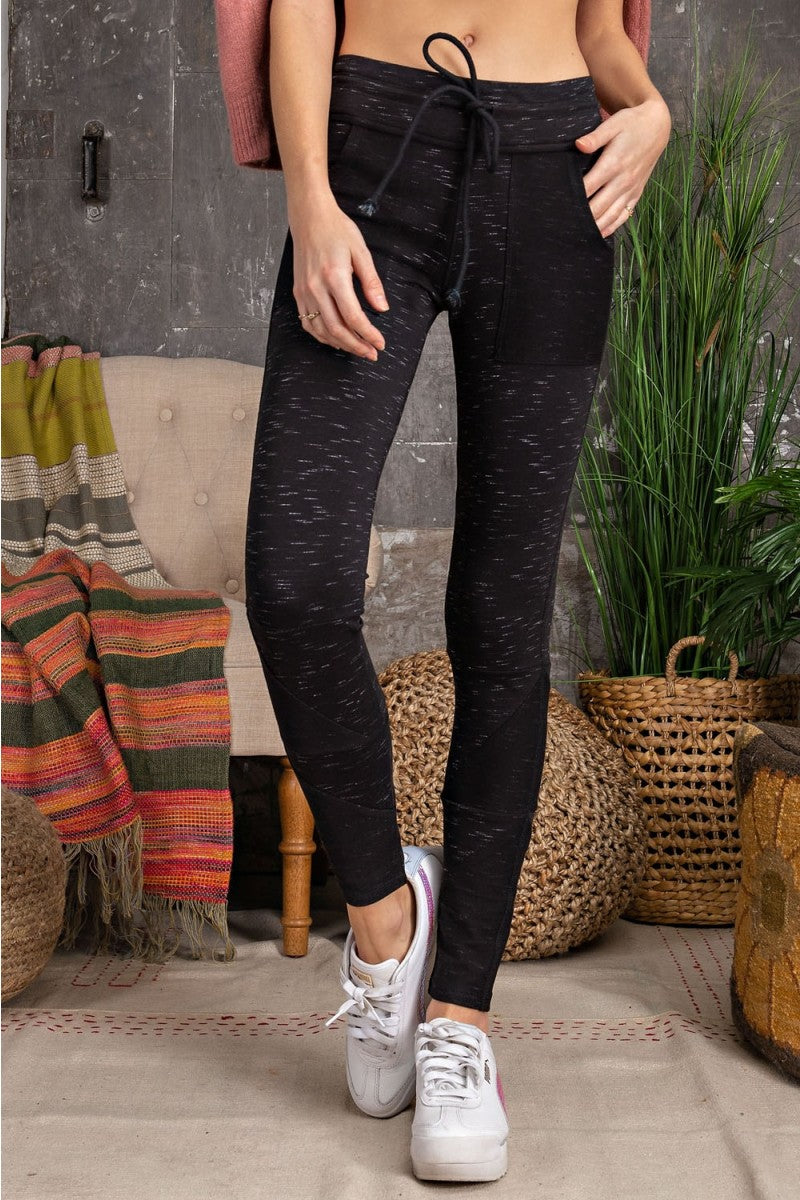 Heathered Slub Knit Jogger Leggings