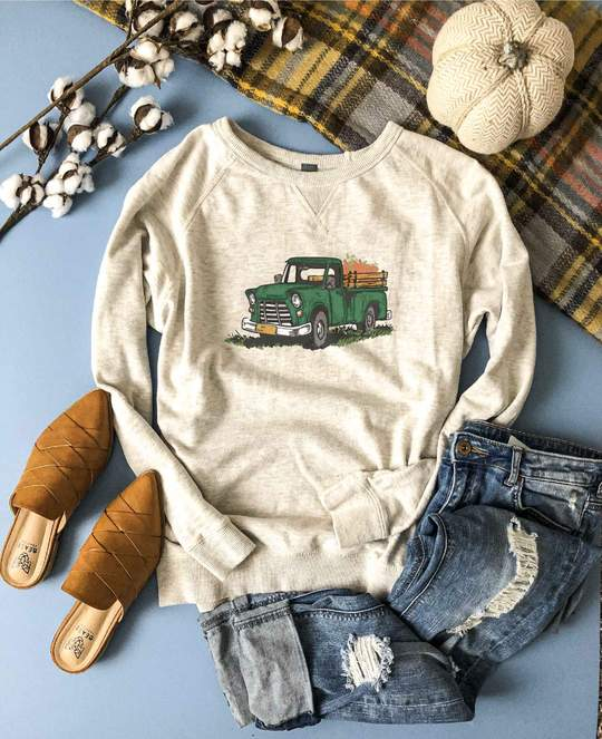 *Preorder* Fall Truck French Terry Raglan Graphic Sweatshirt