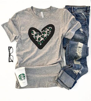 *Preorder* Green Leopard Heart Graphic Tee