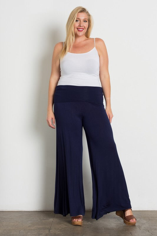 Loose Fit, Casual Style Palazzo Pants - Navy - The Modern Gypsy Collection