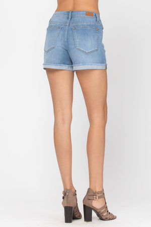 Judy Blue Light Wash Cuffed Hem Shorts