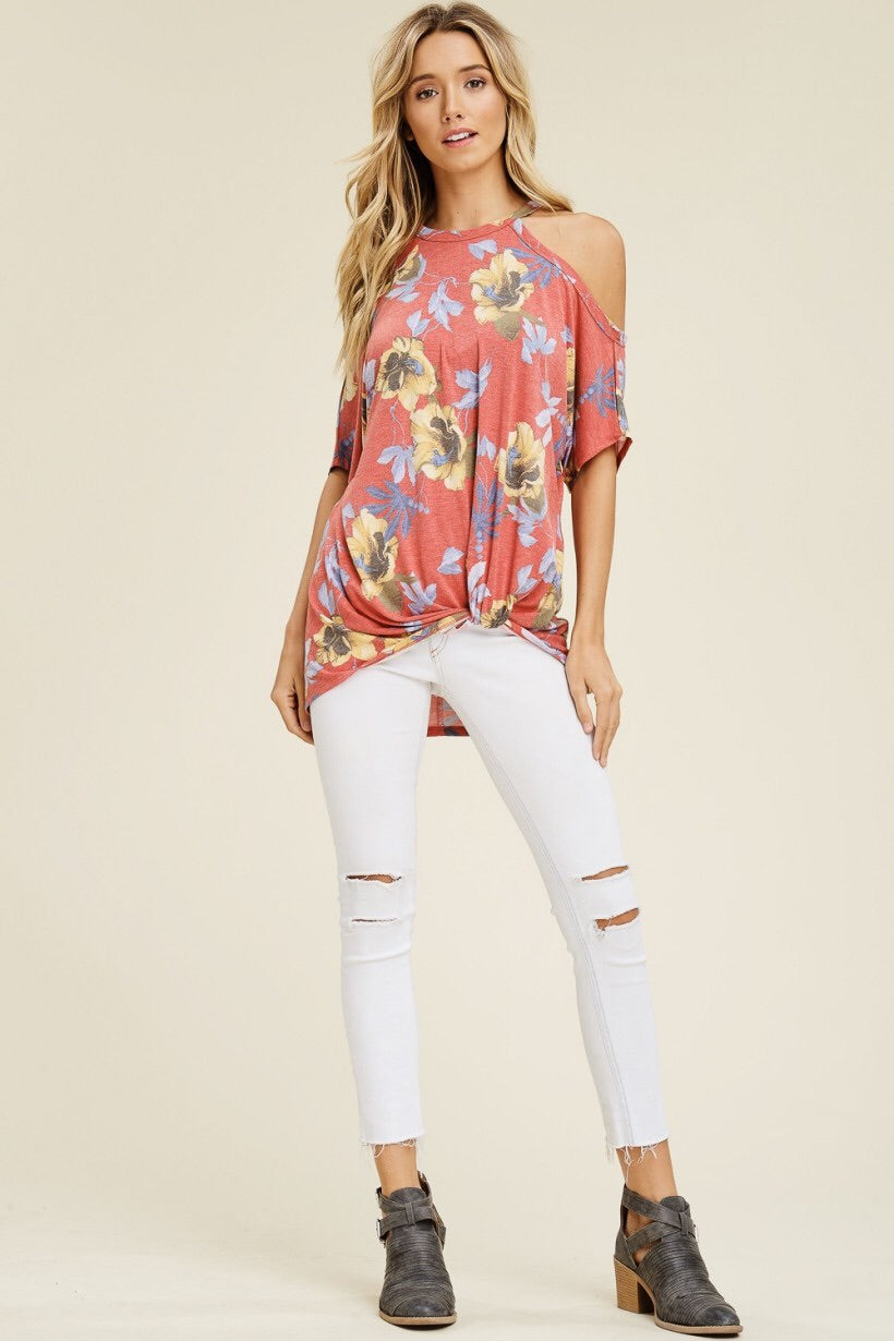 Coral Floral Cold Shoulder Top - The Modern Gypsy Collection