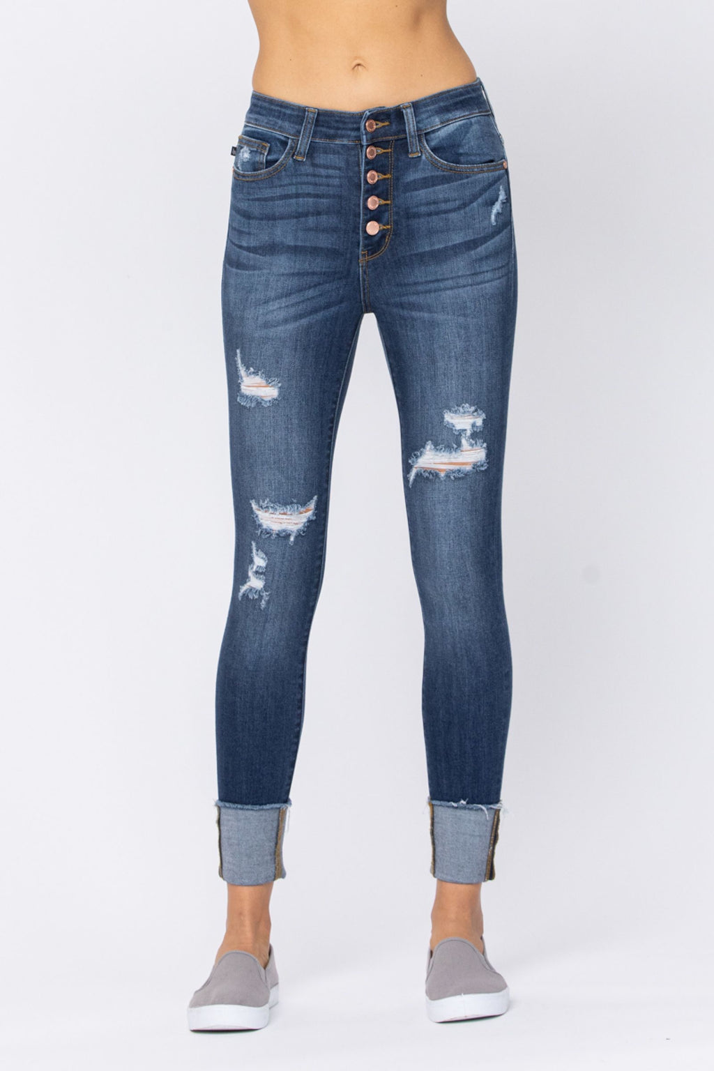 Judy Blue Button Fly Cuffed Skinny Jeans 82246