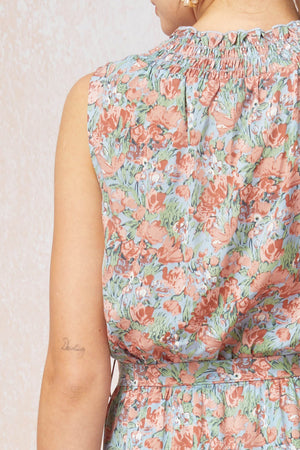 Blush Blue Watercolor Floral Midi Dress