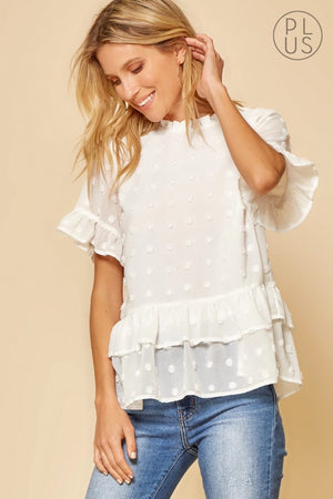 White Swiss Dot Tiered Blouse