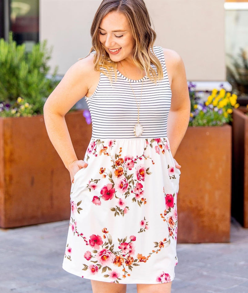 Summer Floral and Stripes Tank Dress