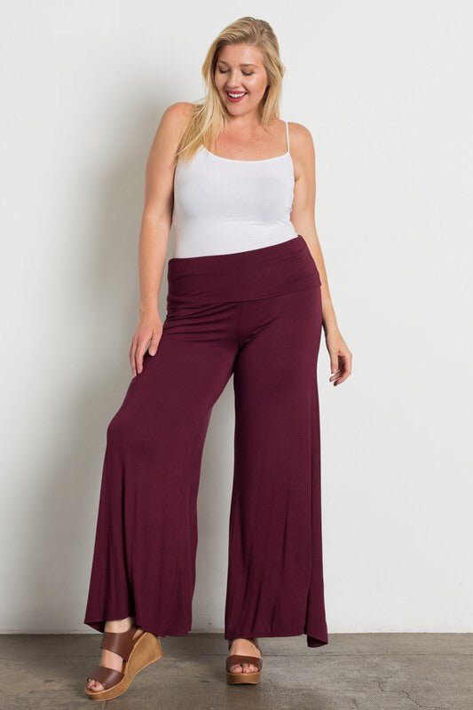 Loose Fit, Casual Style Palazzo Pants - Burgundy - The Modern Gypsy Collection