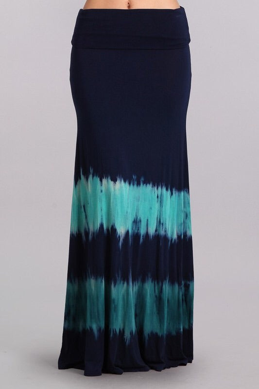 Navy Tie Dye Maxi Skirt w/ Yoga Waistband - The Modern Gypsy Collection