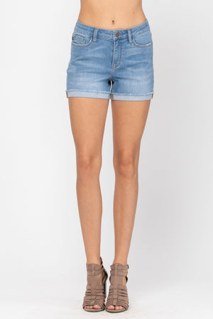 Judy Blue Light Wash Cuffed Hem Shorts 150037