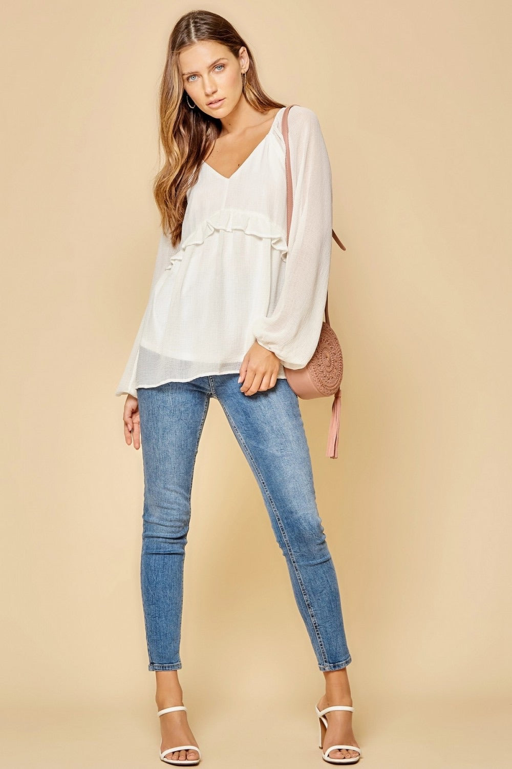 White Babydoll Long Sleeve Top