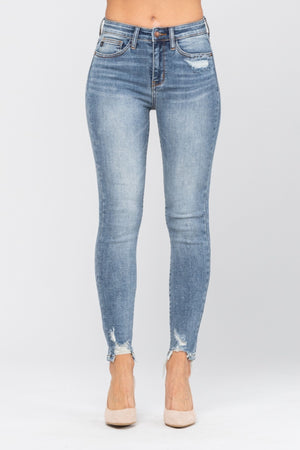 Judy Blue Destroyed Hem & Pocket Skinny Jeans