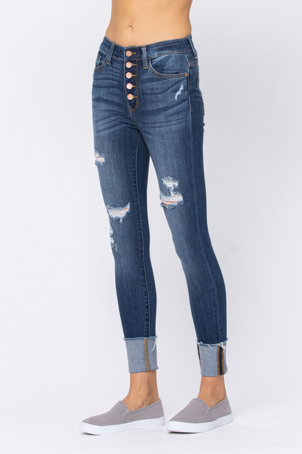 Judy Blue Button Fly Cuffed Skinny Jeans
