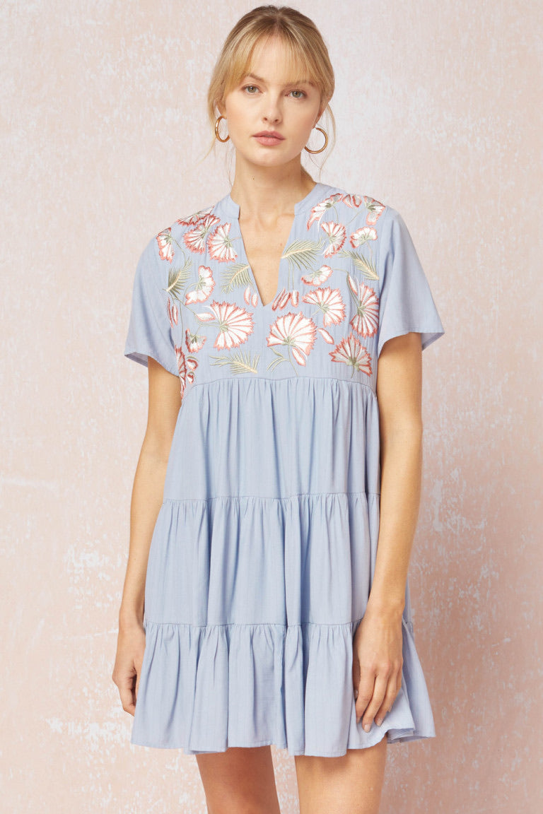Floral Embroidered Tiered Dress