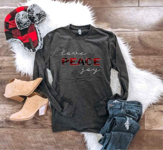 *Preorder* Love Peace Joy Graphic Long Sleeve Tee