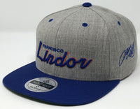 Francisco Lindor Script Hat -  Grey/Royal Snapback